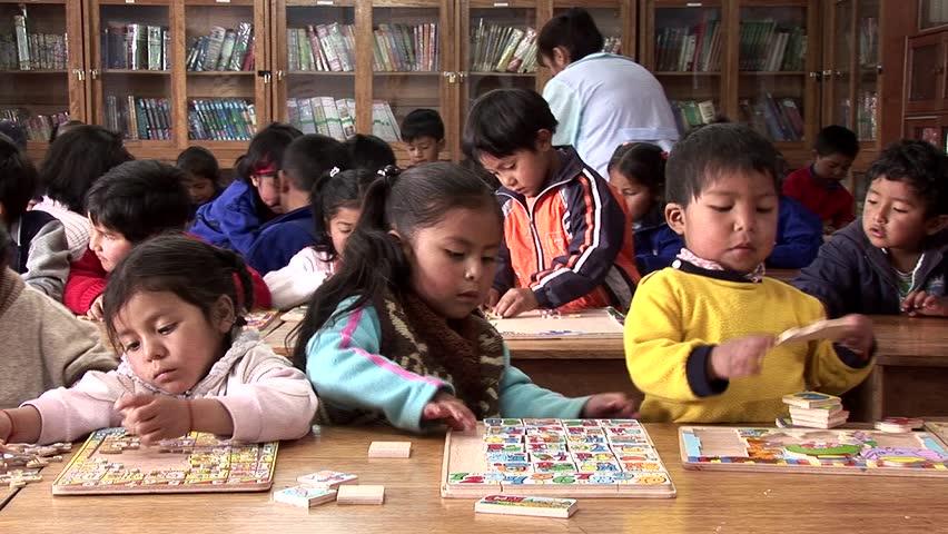 Peru, South America. October 2007  Video footage of schoolchild in a classroom in Cusco, Peru, South America. October 2007