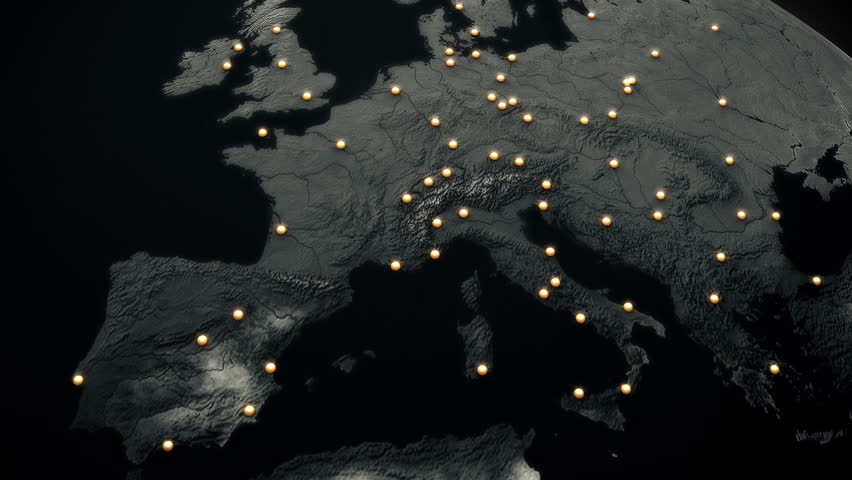 Network Connections over Europe Top View 3D Animation illustrating business connections, e-commerce relations, flight routes connecting the cities of Europe by lines 3 Mattes are included