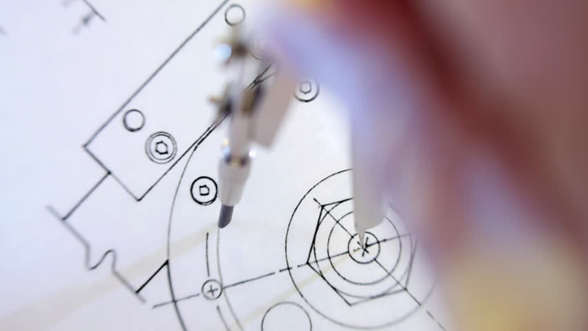 Compasses draws circle on the drawing. The camera is rotating. Closeup. Shallow depth of field | Shutterstock HD Video #10015811