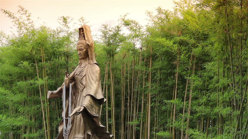 Guan Yin Statue In The Bamboo Garden.   HD Stock Video Clip