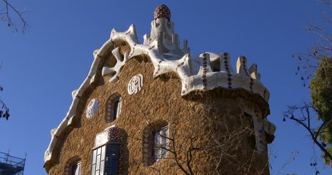 sunny day barcelona guell park gaudi building close up blue sky view 4k spain