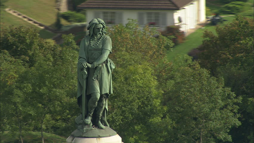 AERIAL France-Vercingretorex Memorial 2006: Vercingetorix Statue and site of battle at Alise St Reine #10043771