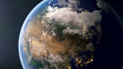 Orbiting over Russia. Photorealistic 3d animation, created using ultra highres Nasa textures. Second half of the video contains a fill & outline, these can be easily overlayed in your editing app.