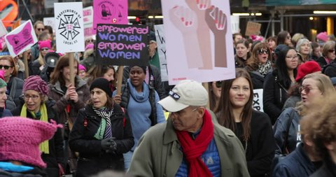 NEW YORK - JANUARY 20, 2018: Women's March