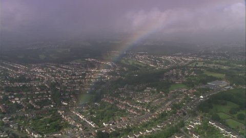 AERIAL United Kingdom-Rainbow Over Stoke-On-Trent 2005: Rainbow over Stoke with rain