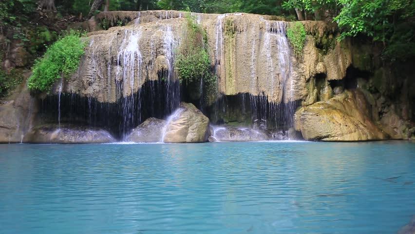 Erawan Waterfall in Erawan National Park Kanchanaburi Province Thailand