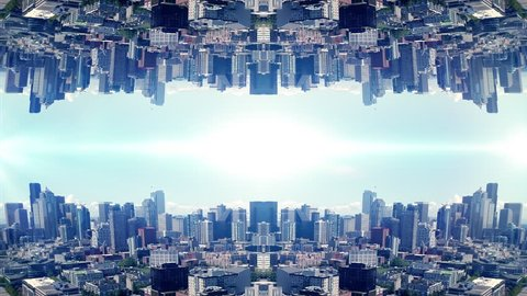 Urban Skyline Background Mirror in Abstract Aerial Angle for Titling