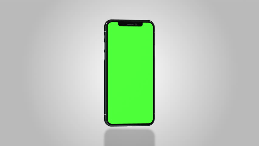Smartphone turns on with green screen. Seamlessly loopable. Easily customizable chroma key. White background