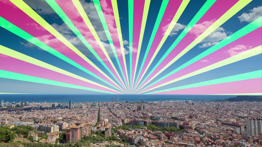 wide angle timelapse of barcelona shot from the bunkers de carmel offering amazing panoramic views over the city skyline. this version has hypnotic spiral pattern over the sky