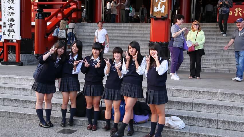 KYOTO, JAPAN - OCTOBER 10, 2014: Japanese School Students ...