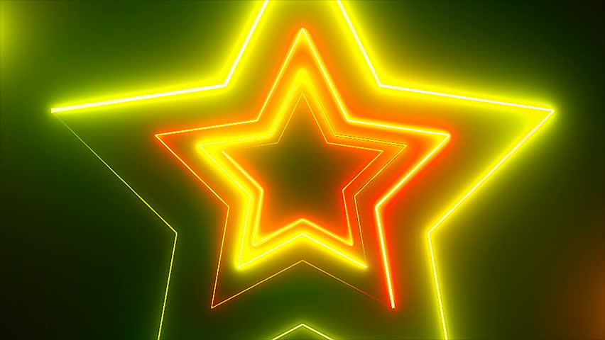 Abstract digital background with neon stars. CG animation 3d rendering. Seamless loop