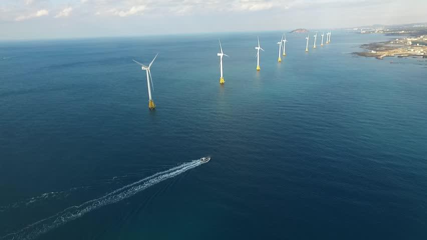 Offshore wind turbines, Jeju island, South Korea