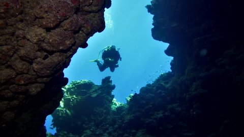 cave diving underwater scuba divers exploring cave dive. Red Sea Egypt 4K