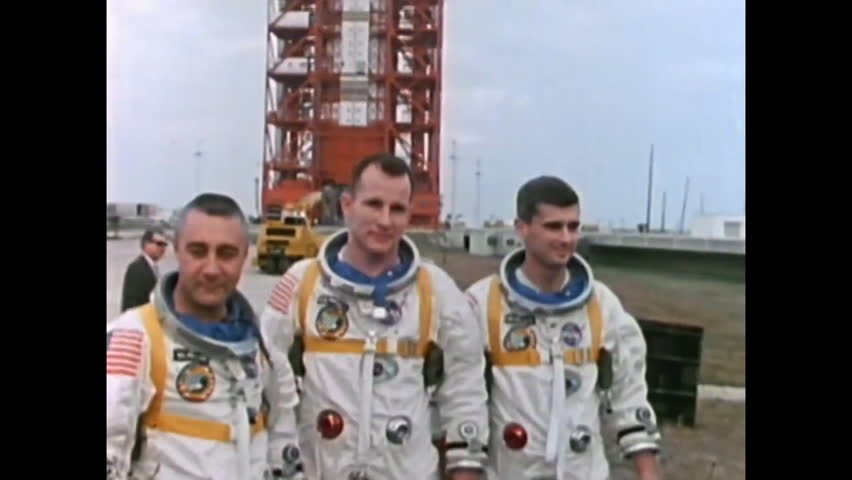 CIRCA 1967 - Gus Grissom, Ed White, and Roger Chaffee are photographed before their fatal mission. Months later, Apollo 7 is successfully launched.