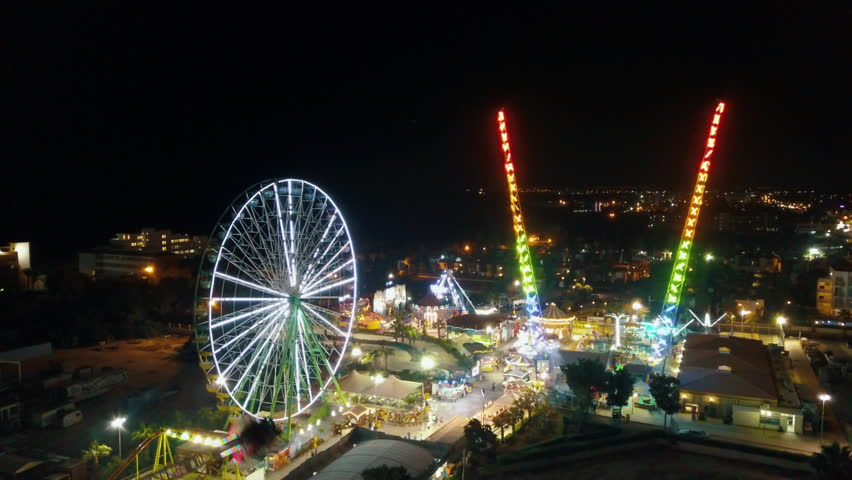 Aerial view of amusement park in Ayia Napa, Cyprus. Night view