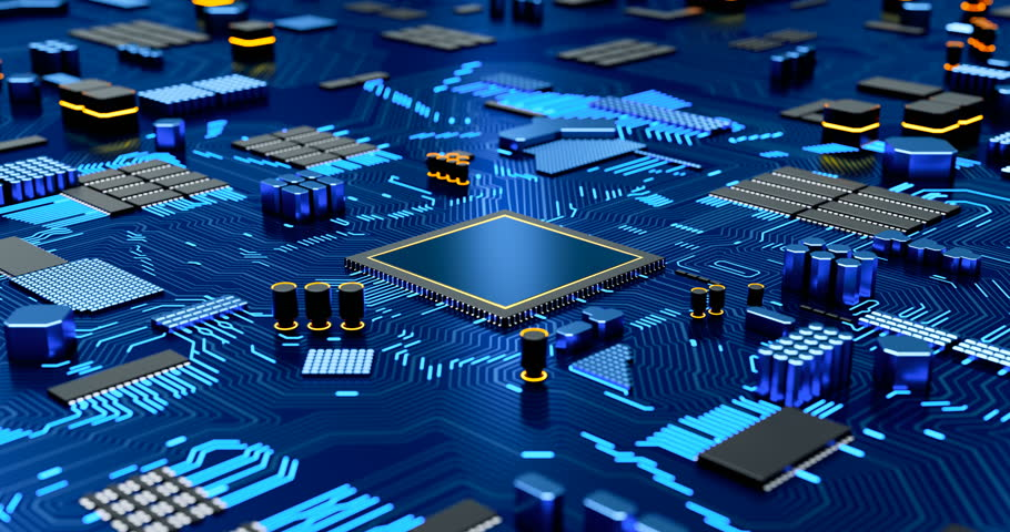 Seamless Loop CPU on Motherboard - abstract 3D render of a computer chip processor on a circuit board with data flowing between microchips #1006672321