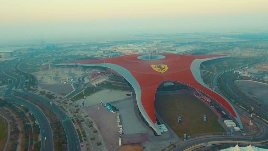 ABU DHABI, UAE - DECEMBER 2016: Aerial view of Ferrari World. Abu Dhabi attracts 10 million people annually.
