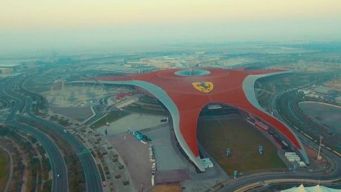 ABU DHABI, UAE - DECEMBER 2016: Aerial view of Ferrari World. Abu Dhabi attracts 10 million people annually.