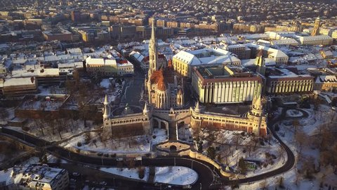 Budapest, Hungary - 4K aerial footage about drone flying away from Fisherman's Bastion and Matthias Church at winter time