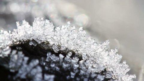 Macro time-lapse of melting hoarfrost particles. Majestic beauty of springtime transformation in wildlife nature. Melting Snow. Melting Ice. Melting Iceberg. Global Warming Effect.