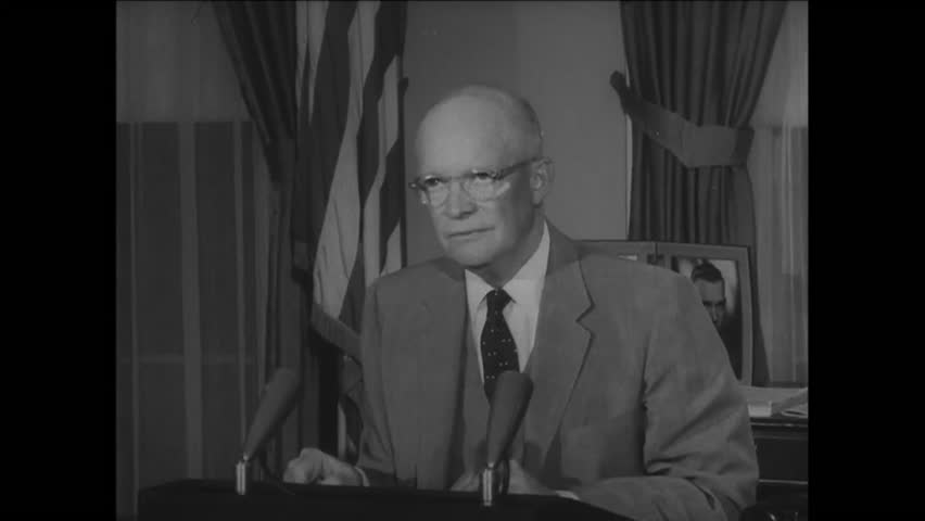 CIRCA 1957 - President Eisenhower vows to remove federal troops from Little Rock if integration laws are upheld.