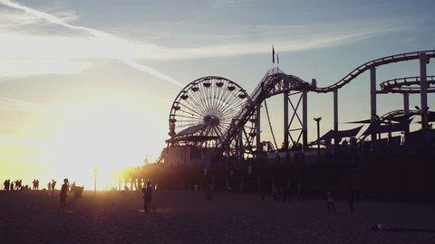 Santa Monica Pier & Ferris Wheel at Sunset, Los Angeles Landmarks Beach Scenic