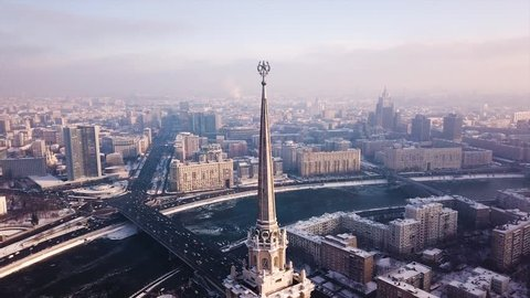Winter Moscow. Stalin skyscraper top aerial view