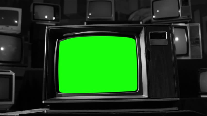 Vintage TV with Green Screen. Ready to Replace Green Screen with any Footage or Picture you Want. Black and White Color.  | Shutterstock HD Video #1006715431