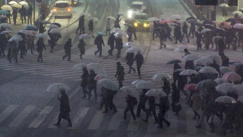 SHIBUYA,  TOKYO,  JAPAN - JANUARY 22, 2018 : Scenery of snowing at SHIBUYA scramble crossing area.