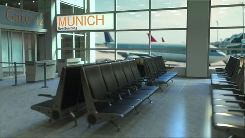 Munich flight boarding now in the airport terminal. Travelling to Germany conceptual intro animation, 3D rendering