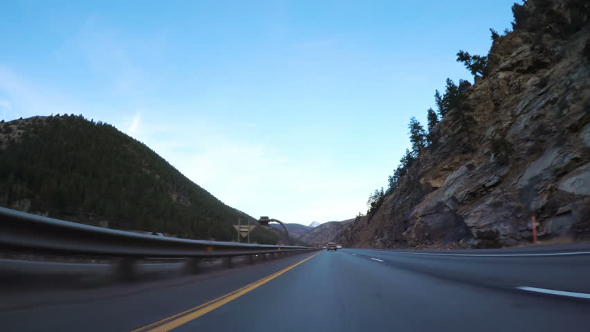 POV point of view - Morning mountain driving early in the Winter.   Shutterstock HD Video #1006731871