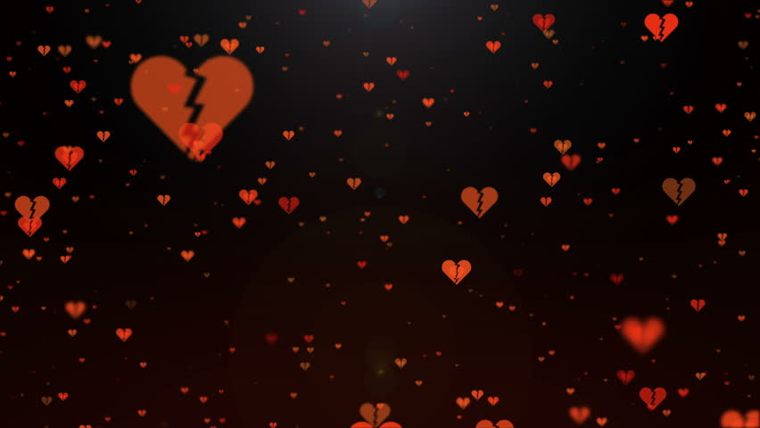 Valentine day loopable abstract  background with red heart broken falling