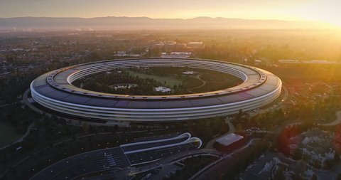 Aerial drone of Apple Campus spaceship at sunrise in Sunnyvale / Cupertino Silicon Valley, California. 24 January 2017