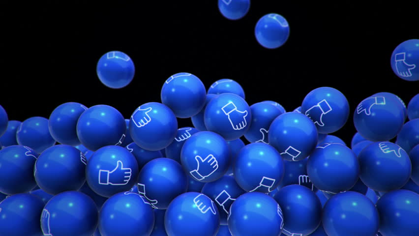 Animation of falling and filling screen blue balls with like finger symbol. Animation of seamless loop. | Shutterstock HD Video #1006772461