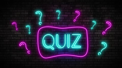 Quiz Neon Light on Brick Wall. Night Club Bar Blinking Sign Style. Video available in 4K FullHD and HD render footage