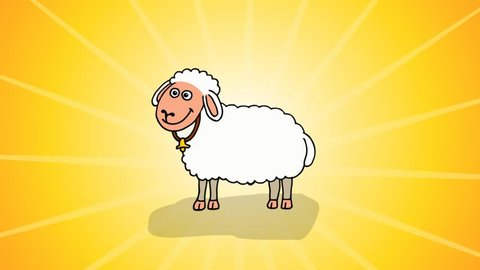 Cute Sheep - Cartoon Character at the Yellow Spinning Light Background