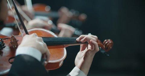 symphony orchestra performance, stringed instruments detail shot