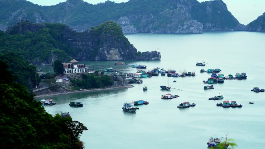 A large number of traditional boats costs in the gulf at the island. The city at a bay. Panoramic landscape view of Cat Ba City of Cat Ba Island, Vietnam.