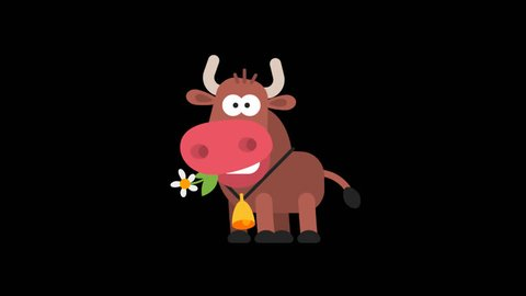 Ox Funny Animal Character Chinese Horoscope. Motion graphics. Transparent background.