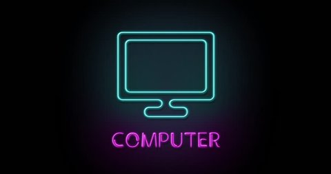 Colorful neon light glowing icon computer  object isolated in png format  with alpha transparency channel background