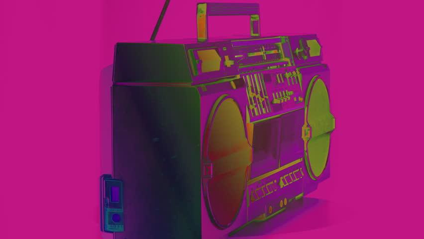 A vintage hifi ghetto blaster spinning around   Shutterstock HD Video #1006809331