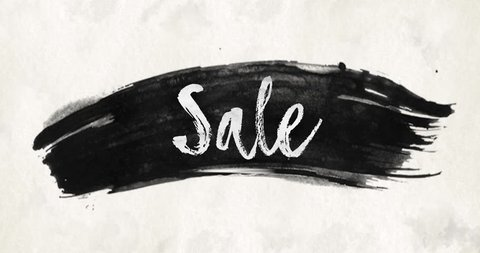 Ink wash watercolor brush stroke texture background slogan text Sale