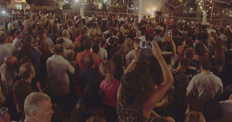 MALTA – AUGUST 2016 : Video shot of Sliema main square at night with people and light show in view #1006829461