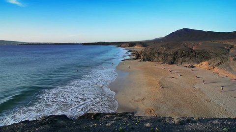 Papagayo beach at sunset, Lanzarote, Canary Islands.