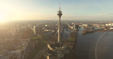 Dusseldorf cityscape with view on media harbor, Germany. Timelapse view 4K. December, 2015