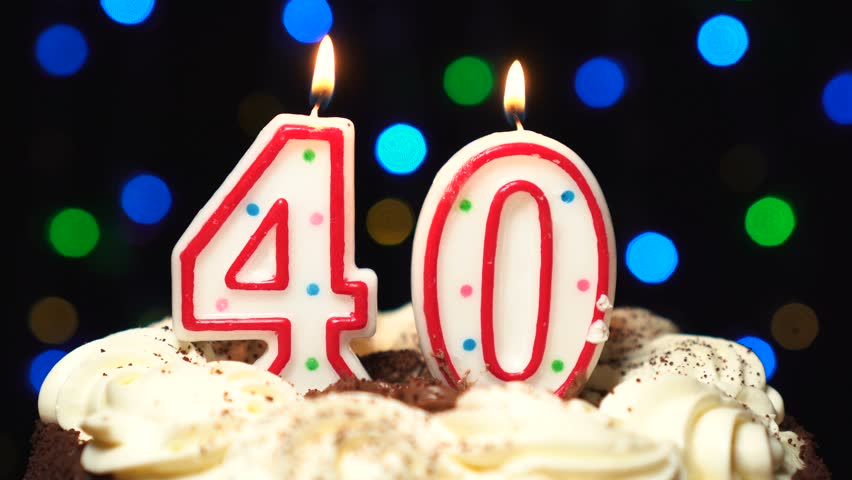 40 Birthday Candles Royalty Free Stock Footage