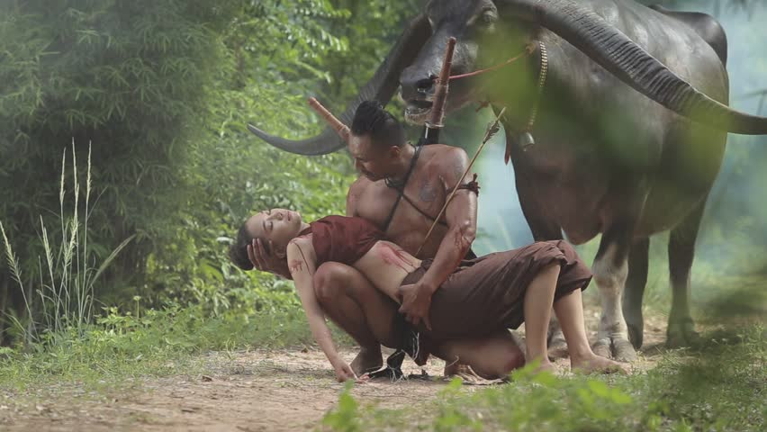 Cinema footage scene of loss, warlord lovers, or warriors. The Ayutthaya period.