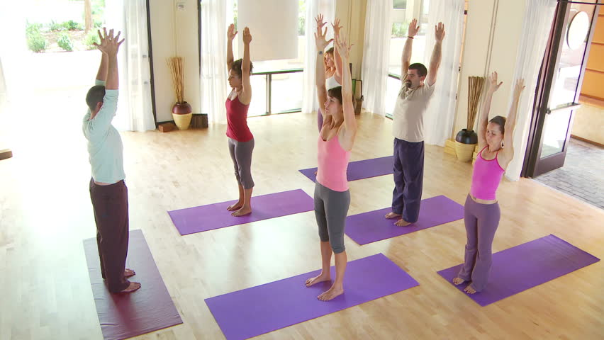Modern Classroom Yoga ~ Yoga class footage stock clips