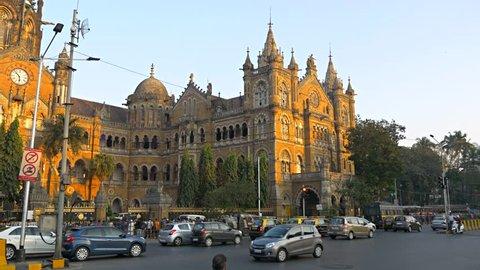 Chhatrapati Shivaji Terminus (CST) formerly Victoria Terminus in Mumbai,  UNESCO World Heritage, Headquarters of the Central Railway. Circa January 26, 2018