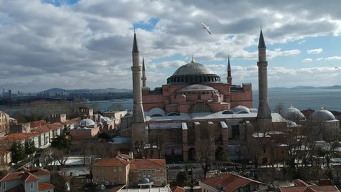 Aerial view of Hagia Sophia Museum in Istanbul Turkey